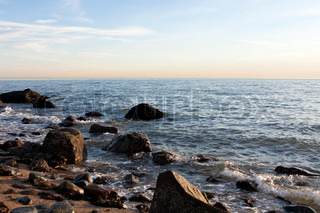 The rocky Connecticut shoreline overlooking the Long Island Sound in Hammonasset State Park