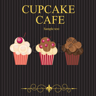 The concept of cupcakes cafe menu Vector illustration