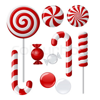 Vector set with different red and white candies