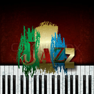 Abstract cracked background with the word jazz and piano