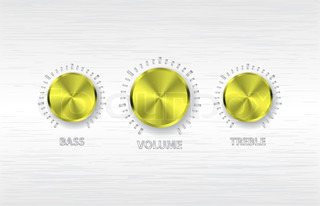 vector gold volume treble bass knobs