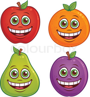 Vector cartoon illustration of fruit with smiling faces Apple, orange, pear and plum characters included