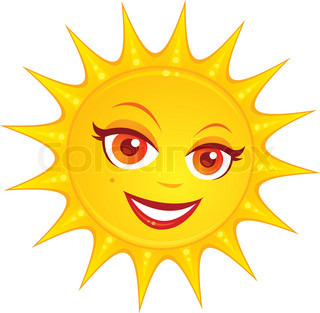 Vector cartoon illustration of a hot smiling summer sun with a pretty female face
