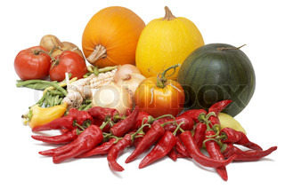 Fresh ripe vegetables: tomatoes, pumpkins, onion, pepper and other
