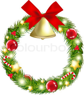 Christmas Wreath With Hand Bells, Vector Illustration