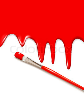Red paintbrush painting the white wall