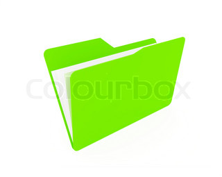 green open folder with paper isolated on white background