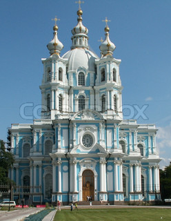 The ancient church in Peterburg in summer