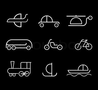 Means of transportation - set of isolated vector icons on black background