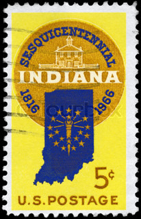 USA - CIRCA 1966: A Stamp printed in USA shows the Design features Sesquicentennial Seal Map of Indiana with 19 Stars & Old Capitol at Corydon, circa 1966