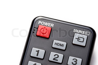 Red Power button on the black remote control