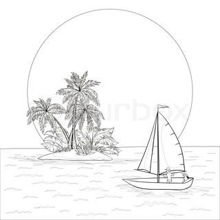 Sailing boat with a people floating in the tropical sea against the backdrop of the island with palm and sun, contours