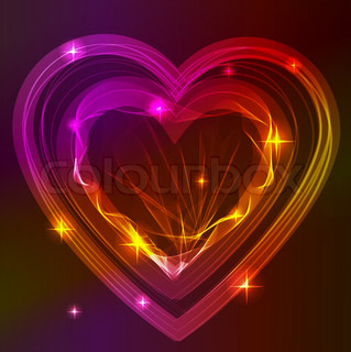 Background with bright beautiful abstract heart over dark