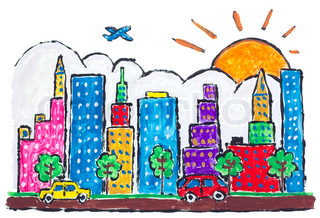 Isolated Big urban futuristic city town painted abstract concept- children drawing