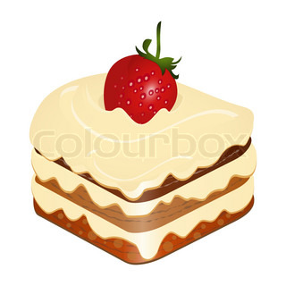 cake with strawberry isolated on white background - vector illustration