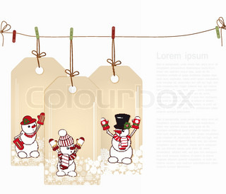 Christmas tags with elements of the Christmas decor
