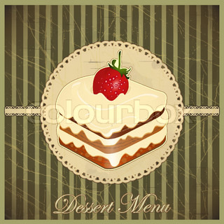 Beautiful vintage card with a strawberry and chocolate dessert - vector