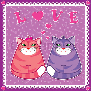 Valentine card with funny cats in love in sticker scrapbook style