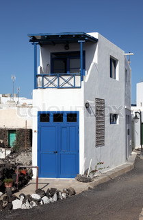 Typical house on Canary Island Lanzarote, Spain