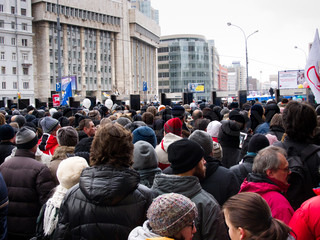 MOSCOW, RUSSIA - DECEMBER, 24, 2011: Participants of the protest manifestation on the Saharov square in Moscow People remonstrate against falsification of the parliamentary election results
