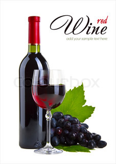 Bottle of wine, a glass, a bunch of grapes, isolated on white ba