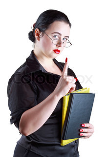 The woman in glasses with books show up index finger isolated on a white background