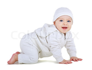 Child in a white suit crawls, isolated on white background