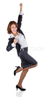 Business woman expresses joy, isolated on white