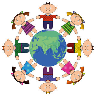 Happy children standing around Earth, holding hands and smiling