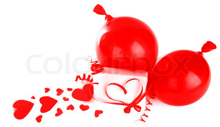 Gift box with red hearts & ribbon isolated on white background, conceptual image of love & Valentine's day holiday