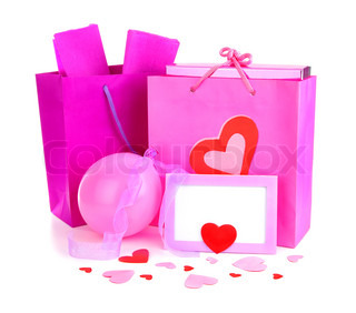 Pink shopping bags with gifts & blank card, isolated on white background, conceptual image of love & Valentine's day holiday