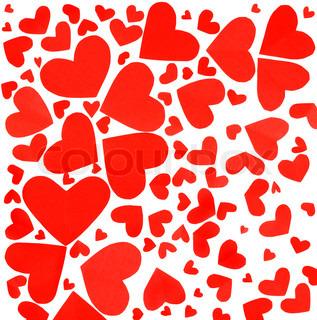 Red hjerter baggrund , mange papir hjerter isoleret på hvidt