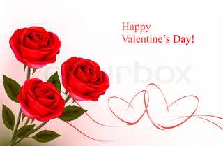 Valentine`s day background. Red roses and gift red bows