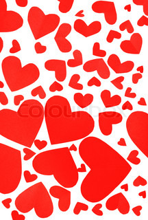 Red hearts background, many paper hearts isolated on white