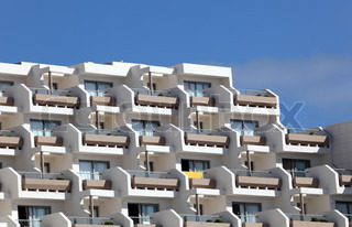 Balconies at the facade of a modern building