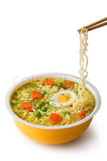 Instant noodles with chopsticks