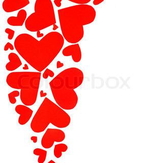 Red hjerter grænsen af mange papir hjerter isoleret på hvid baggrund med kopi plads