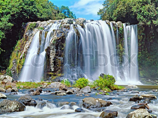 Panoramic view to famous huge waterfall on Reunion island