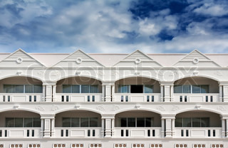 hotel in colonial style architecture in the sky