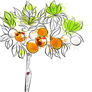 Decorative background with tangerine tree