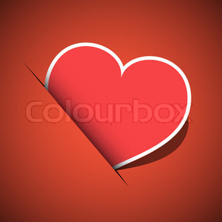Red postcard heart on red background