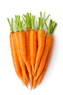 Big Discrete carrot - Heap of carrots like a large root-crop Isolated on a white