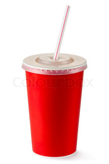 Red disposable cup for beverages with straw Isolated on a white