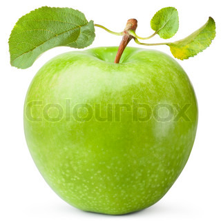 Green apple with three leaves