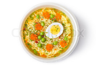 Cup of instant noodles with vegetables