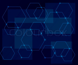 dark blue background with geometric shapes