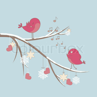 Cute pink birds on a branch with hearts and snowflakes