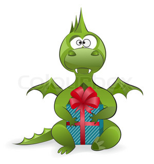 Symbol of the year - a cute green dragon holding a gift