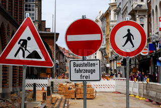 Building site with traffic signs in the middle of a German town