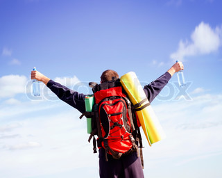 Image of 'backpack, independence, happiness'